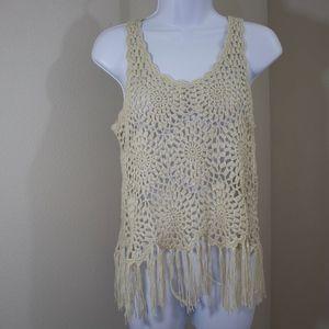 INC boho beige crochet tunic tank top with fringe